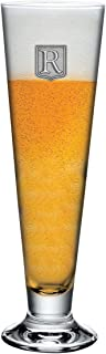 Footed Pilsner Beer Glass Monogram Initial Pewter Engraved Crest with Letter R, by Fine Occasion (18 oz)