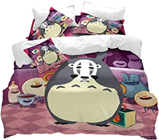 VITALE Duvet Cover Full Size,My Neighbor Totoro Cartoon Quilt Cover Full Size,3 Pieces Spirited Away Printed Bedding Set,for Kids Bedroom Home Decor