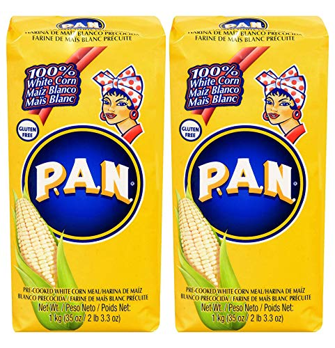 Harina PAN Pre-Cooked White Maize Meal - 1kg (Pack of 2)