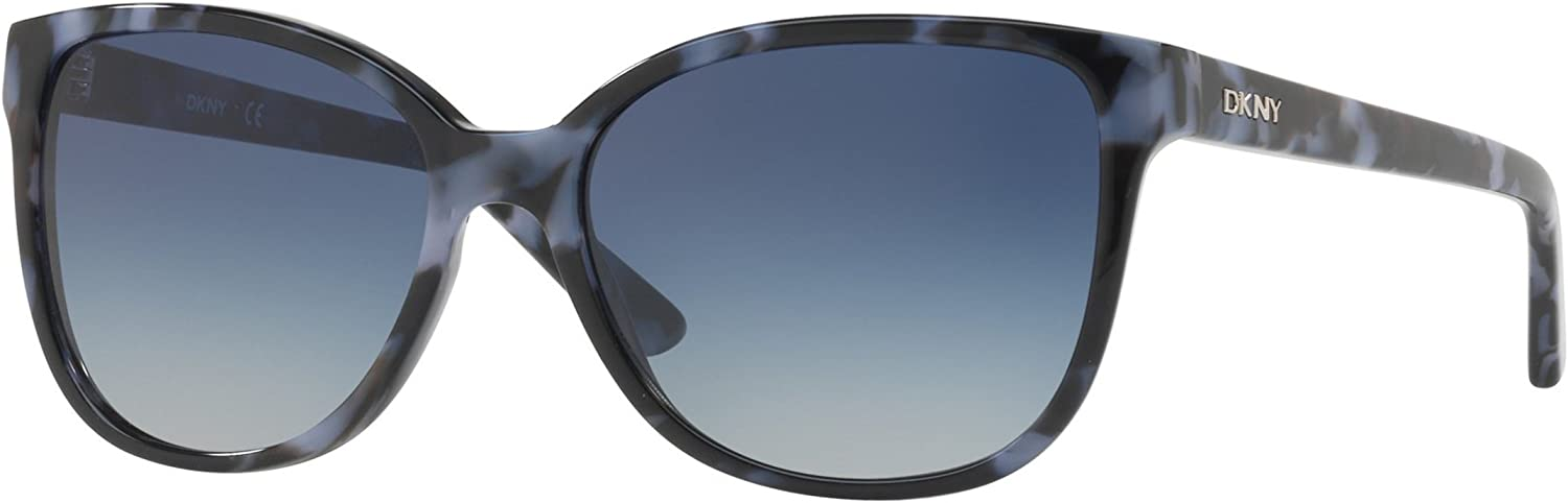 DKNY Women's Plastic Woman Square Sunglasses, Pearl Navy Tortoise, 57 mm