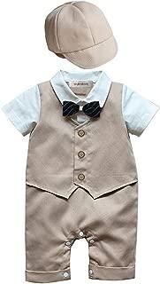 stylesilove Baby Boy Newborn Infant Toddler Formal Wear Short Sleeves Romper and Hat 2-Piece