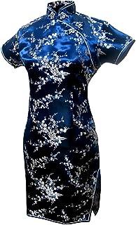 فستان سهرة صيني قصير مزين بالزهور أزرق داكن للسيدات من 7Fairy
