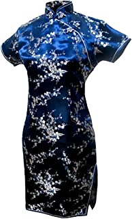 7Fairy Women's Navy Blue Floral Mini Chinese Evening Dress Cheongsam