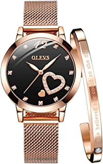 Women's Rose Gold Watches Heart Diamond Japanese Quartz Movement Girls Ladies Wristwatch Big Face Waterproof Mesh Belt Watch and Bracelet Set Valentines Day Gifts