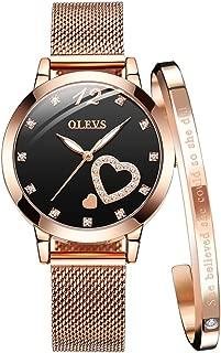 OLEVS Women's Rose Gold Watches Heart Diamond Analog Quartz Japan Movement Girls Ladies Wristwatch Black Big Face Waterproof Mesh Belt Watch and Bracelet Set Valentines Day Gift
