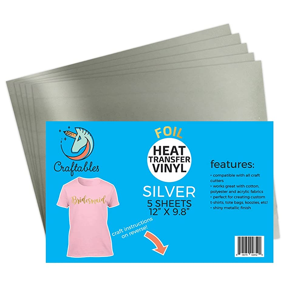 Craftables Silver Foil Heat Transfer Vinyl for Craft Cutters - (5) Reflective 9.8