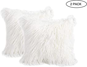 2 Pack Fluffy Throw Pillow Covers White 18x18 inch/45x45cm, Soft Cuddly Faux Mongolian Fur Cushion Cover for Bed & Couch Decorative Furry Throw Pillow Cases