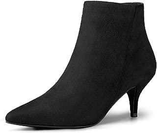 Allegra K Women's Pointed Toe Zip Stiletto Kitten Heel Ankle Booties