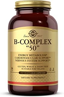 "Solgar B-Complex ""50"", 250 Vegetable Capsules - Energy Metabolism, Cardiovascular Support, Nervous System Support - Non-GM..."
