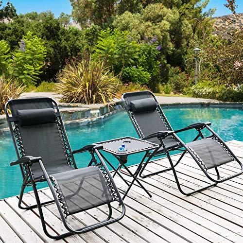 DreamMespace, 2 sedie da giardino reclinabili a gravità zero con tavolo, sdraio da spiaggia pieghevole e reclinabile, sedie reclinabili resistenti alle intemperie (sedia con tavolo)