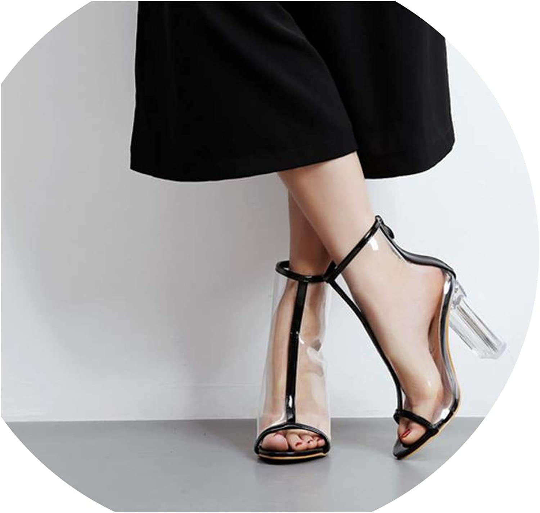 Roman Women Pumps Zipper High Heels Summer PVC Transparent Crystal Sandals Solid color Party Woman shoes