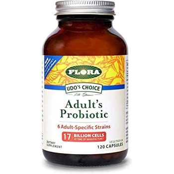 Flora Adult Blend Probiotic Capsules 120Count - 17 Billion CFU - Vegetarian, Gluten Free - for Adults Age 19-54 (UDO's Choice)