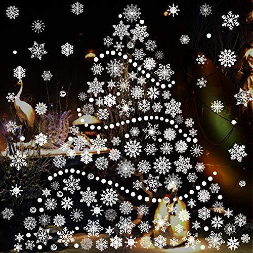 Flysee Pegatinas de Navidad, Pegatina Copo de Nieve, Pegatinas de Navidad para Ventanas Pared Adornos Artículos de Fiesta Decoracion Navideña e Invierno