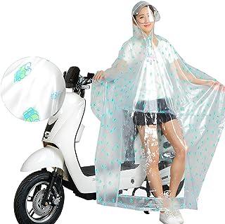 レインコート 透明プラスチック電動自転車レインコートシングル女性大人のオートバイの乗馬バッテリー車ポンチョレインコート取り外し可能な二重帽子レインコート反射ストリップ付き(5色オプション) 成人用レインコート (色 : A, サイズ さいず : XXXL)