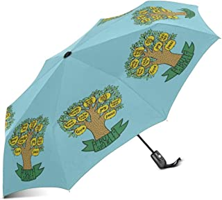 INTERESTPRINT Christian Bible Verse Fruit of The Spirit with Tree Windproof Auto Open and Close Foldable Umbrella, Lightweight Portable Outdoor Sun Umbrella with UV Protection