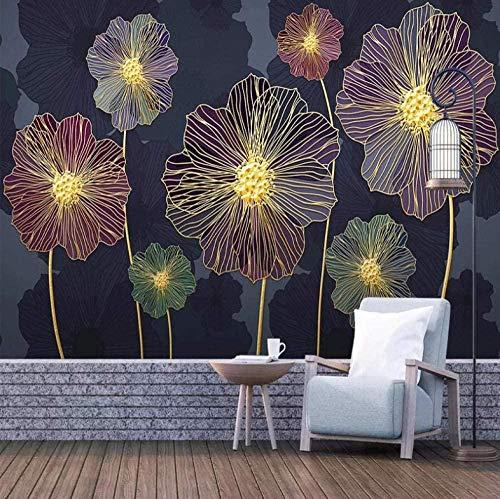 Flor de amapola oscura Papel tapiz no tejido Mural Decoración de pared moderna Diseño Decoración de pared Sa Pared Pintado...