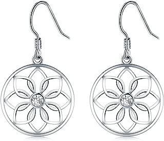925 Sterling Silver Earrings, BoRuo Lotus Flower Yoga Earrings