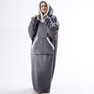 Bedsure Sherpa Sweatshirt Blanket, Long Wearable Blanket Hoodie, Plush Fleece Blanket Sweatshirt with Sleeves and Pockets for Men, Women and Adults, Gift for Families, Grey, Standard Size 30x57 inches