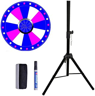 BoTaiDaHong 24 inch Color Prize Wheel Fortune 12 Slot with Folding Tripod Floor Stand Dry Erase Carnival Spinnig Game Height Adjustable