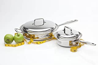 360 Stainless Steel Cookware Set, Handcrafted in the USA, Induction Cookware, Waterless Cookware, Dishwasher Safe, Oven Safe, Surgical Grade Stainless Steel Cookware, Pots and Pans Set (4 Piece Set)