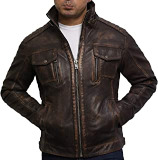 Brandslock Mens Distressed Genuine Leather Biker Jacket Vintage Brown Rub Off