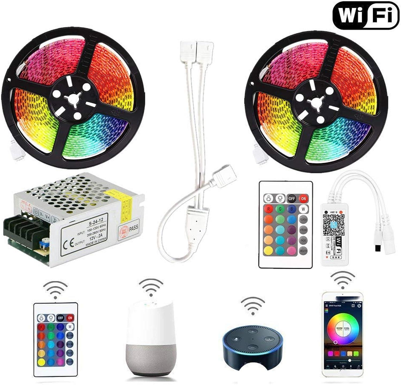 Envío 100% gratuito Tira LED 5050 RGB Cinta Cinta Cinta LED inalámbrica WiFi 5M 10M 15M Kit 12V 150leds Luz de cuerda flexible impermeable + Controlador WiFi a 3x5m sin batería  liquidación hasta el 70%