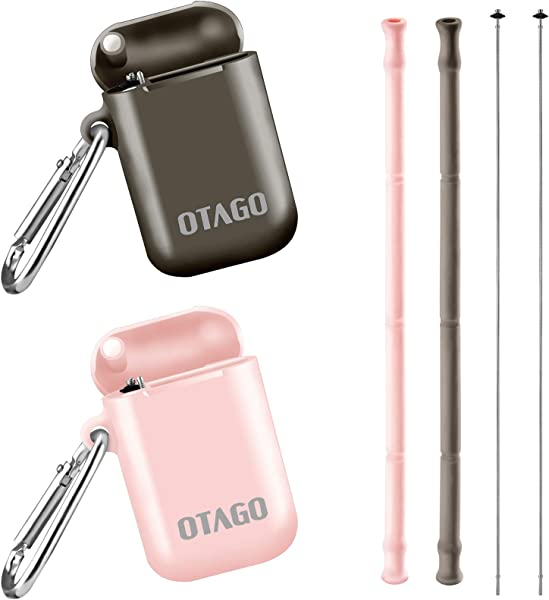OTAGO 2 Pack Collapsible Reusable Straws Food Grade Foldable Silicone Drinking Straw With Portable Case And Cleaning Brush For Cold Beverage Coffee And Smoothie Brown Pink