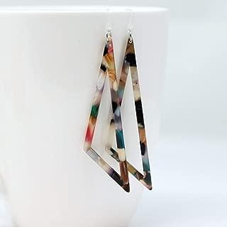 Acetate Scalene Triangle Dangle Earrings on Plastic Hooks, Multi Color