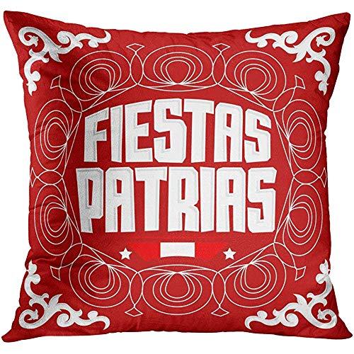MJDIY Kopfkissenbezug,Fiestas Patrias Nationalfeiertage Spanisch Text Peru Patriotic Celebration Peruanische Flagge Farbe Throw Kissenbezüge Für Erwachsene Comfort Travel 45X45 cm
