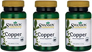 Swanson Copper Antioxidant Immune System Red Blood Cell Support Mineral Supplement (Copper chelate) 2 mg 300 Tabs (3 Pack)