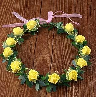 Perfect Party Decoration Holiday Accessories Bridal Wreath Headband Headdress Seaside Travel Photography Headdress(12 Flowers,Yellow)