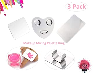Pro Stainless Steel Makeup Cosmetic Artist Five Holes Mixing Pallete Spatula with Spatula Tool (Ring)