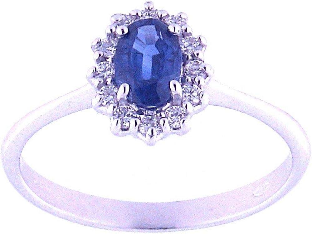 Anelie gioielli - anello donna in oro bianco 18 carati con zaffiro blu e diamanti brillanti ANPA197ZA-16