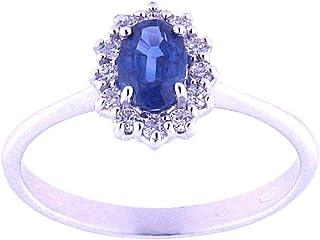 Anelie Gioielli - Anello Donna in Oro Bianco (750) 18 carati con Zaffiro Blu e Diamanti Brillanti misure dal 10 al 18