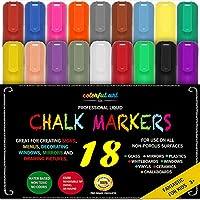 Chalktastic - Juego de marcadores de tiza líquida y bolígrafos, 18unidades, ideal para escribir en cristal y pizarra, borrables