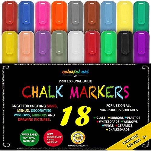 Kreidemarker trocken oder nass abwischbar - 18 Stifte Set - Neonfarben mit Gold und Silber - extra Doppelspitze - dicke und dünne Spitze in einem Stift - Kreidestifte für Tafel, Fenster, Glas
