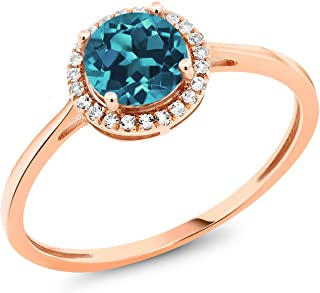 Gem Stone King 10K Rose Gold London Blue Topaz and Diamond Women's Engagement Ring (0.97 Cttw, Available 5,6,7,8,9)