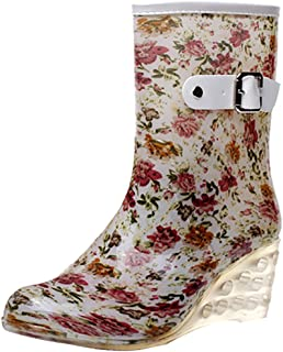 99d23f66fca5 Odema Women s Mid Calf Rain Boots Buckle Side Zipper Wedge High Heel  Waterproof Shoes Snow Wellies