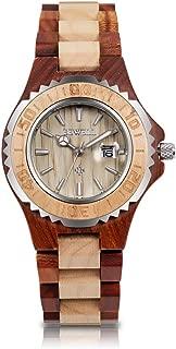 Womens Wooden Watches Date Display Handmade Wooden Analog Quartz Watch Natural Lightweight Wood Wirst Watches
