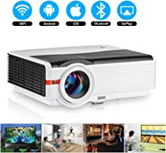 HD Bluetooth Wireless Projector HDMI 5000 Lux 1080P Smart Multimedia Widescreen Android Projector LED LCD Video Projectors with Digital Zoom USB VGA AV Aux Audio TV Gaming Movie Outdoor Entertainment