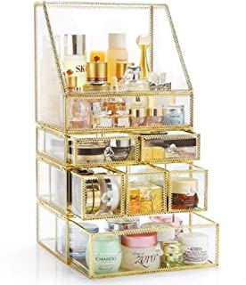 Makeup Storage Antique Spacious Mirror Glass 6 Drawers Vanity Tray Set/Gold Metal Cosmetic Makeup Box/Stunning Jewelry Cub...
