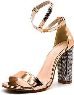 733feaf30faafb Minetom Femme Sandales Chaussures Plage Soirée De La Mariée Haut Talon  Diamante Bling Sandals Partie Sexy