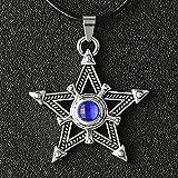 LJQJYFC Black Rock Shooter Necklace Pentacle Pentacle Star Amulet Antique Silver Color Pendant Crystal Vintage Anime Jewelry