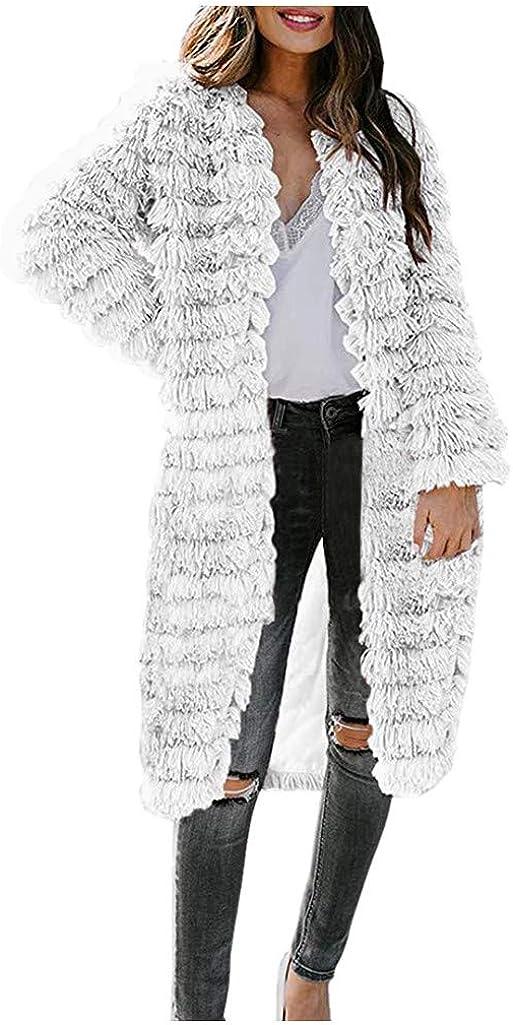 VEKDONE Women Plus Size Open Front Cardigans Parka Shaggy Faux Fur Coat Autumn Winter Warm Parka Jackets
