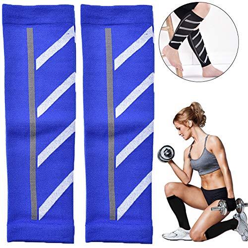 YXYLD compressiebeenhemel, druksportlegging voor mannen en vrouwen, geschikt voor marathon/outdoor ademende kuitsokken blauw