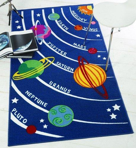 Tapis pour enfant bleu avec planètes Design de l'espace et l'univers. Grande Taille 100 x 190 cm et antidérapant sur sol dur. -, Nylon, bleu, Small: 80x120cm (Farmyard)