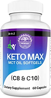 Keto Max MCT Oil Capsules C8-C10-1000 mg Keto Max Pure Exogenous 4 Ketone Salts and MCT Oil to Boost Ketosis- Dietary Supp...