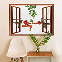 Art Sticker Two Hummingbirds Sipping Nectar from a Trumpet Vine Blossoms Summertime Removable Sticker Red Black Green W12xL18 INCH