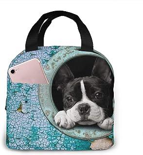 N\A Sac à Lunch isolé imprimé Boston Terrier pour la capacité des Femmes, boîte à Lunch de Sac Isotherme imperméable réuti...