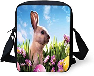 Messenger Bag,Unisex,Blossoming Flowers with Colorful Painted Eggs and Fluffy Bunny Nature Photography.9x8x2inches